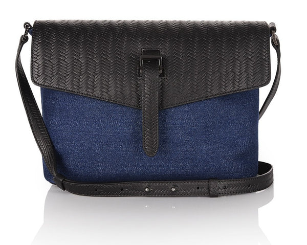 Maisie Medium Bag Denim and Black Woven Leather - from meli melo