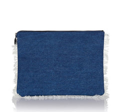 Oversized Clutch Bag Blue Denim - from meli melo