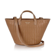 Rosalia Mini Cross Body Bag Light Tan Woven|Italian Handbag|meli melo