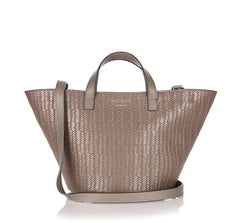 Rosalia Mini Cross Body Bag Elephant Grey Woven|Italian Handbag| meli melo