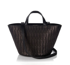 Rosalia Mini Cross Body Bag Black Woven|Italian Handbag|meli melo