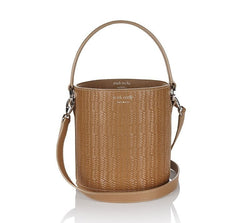 Santina Mini Bucket Bag Light Tan Woven|Italian Handbag| meli melo
