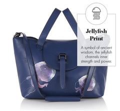 Thela Medium Tote Bag Midnight Blue Jellyfish - from meli melo