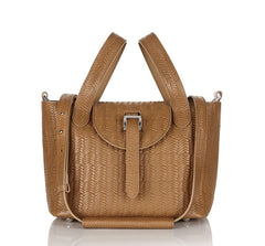 Thela Mini Cross Body Bag Light Tan Woven|Italian Handbag| meli melo