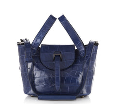 Thela Mini Cross Body Bag Midnight Blue Croc - from meli melo