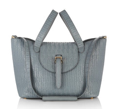 Thela Medium Tote Bag Blue Heron Woven