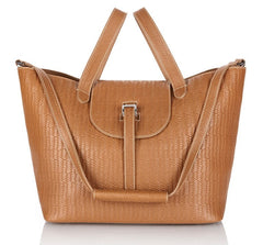 Thela Handbag Light Tan Woven Leather - from meli melo