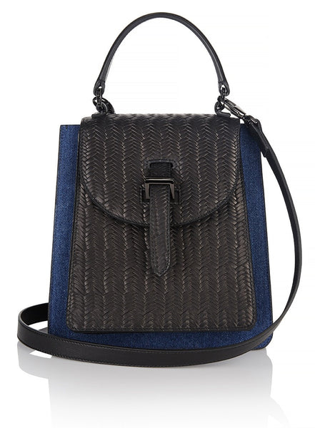 Floriana Mini Handbag Denim and Black Woven - from meli melo