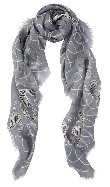 Cashmere Scarf Blue Heron Print - from meli melo