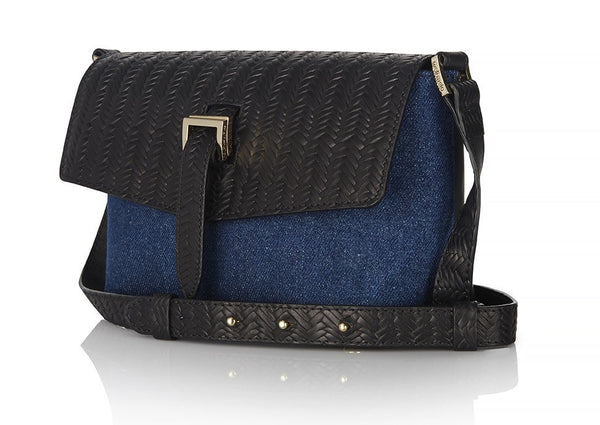 Maisie Bag Denim and Black Woven - from meli melo