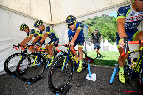 Guillaume Martin and Wanty-Groupe Gobert warming up ahead of stage 17 2018 Tour de France