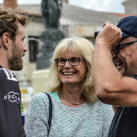 Dan McLay of Fortuneo-Vital Concept with parents before stage 11 tour de France