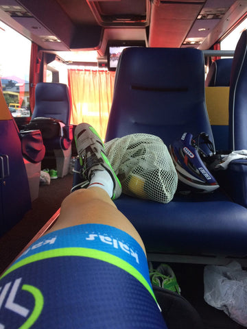 Mark McNally resting up on Wanty-Groupe Gobert team bus transfer to hotel