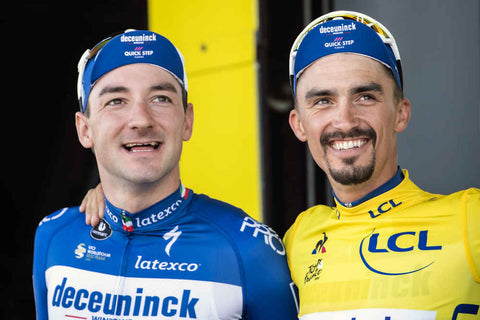 Elia Viviani and Julian Alaphilippe Deceuninck - Quick-Step Stage 4 Tour de France 2019