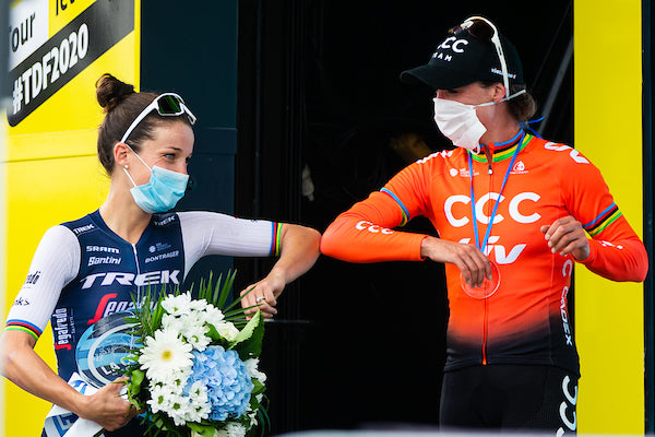 2020 La Course By Le Tour with FDJ - Nice, France Lizzie Deignan of Trek Segafredo wins ahead of Marianne Vos of CCC