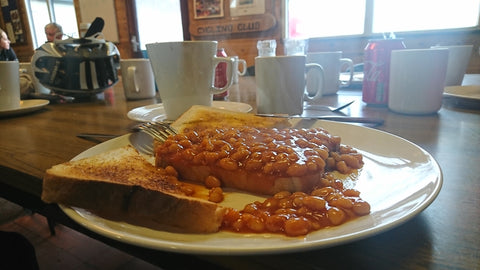 Beans on toast and a spare, Eureka cyclist Cafe, Two Mills,  Chester