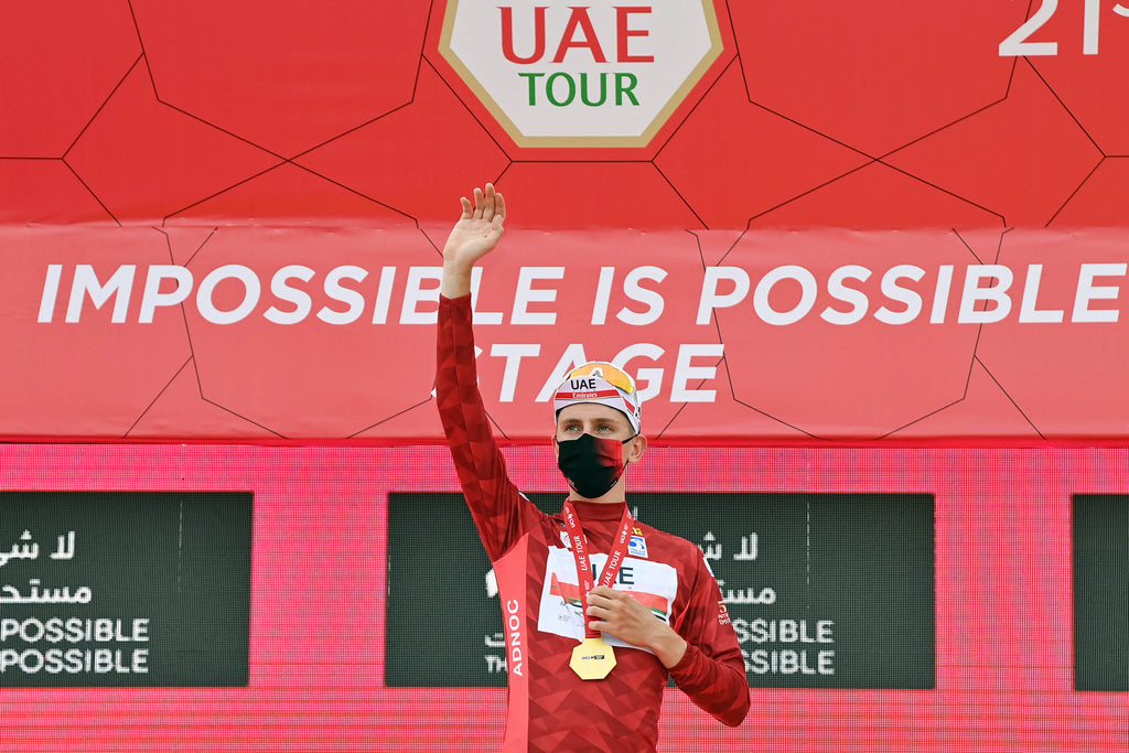 Tadej Pogačar celebrates his overall race lead at the end of stage 5 of the UAE Tour. Will he be atop the podium at the Tour de France in July?  Photo © Gian Mattia D'Alberto (LaPresse).
