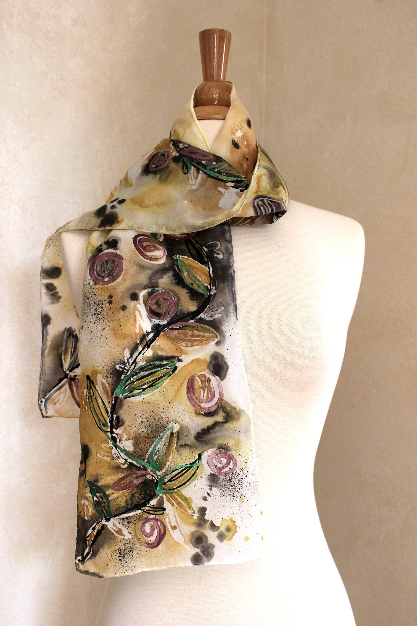 Floral Fantasy - Gold, Metallic Green, Metallic Purple and Black