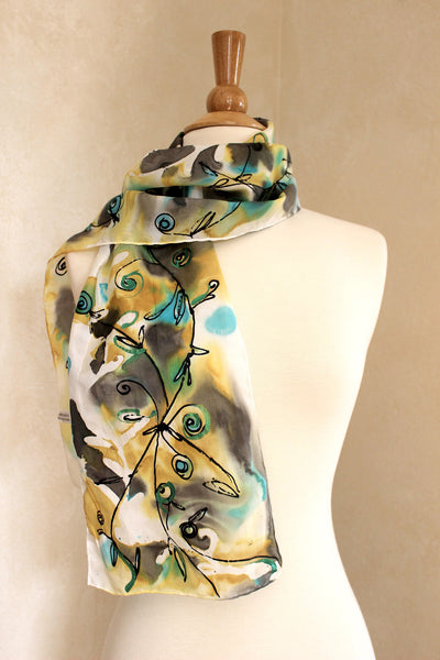 Floral Fantasy - Gold, Blue, Black and Metallic Green
