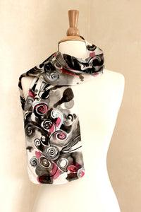 Spiral Dreams - Red, Black and Metallic Silver