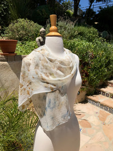 Eco-Dyed Chiffon Scarf (SC-0002) - Blue, Rust, Brown, Gold, Tan