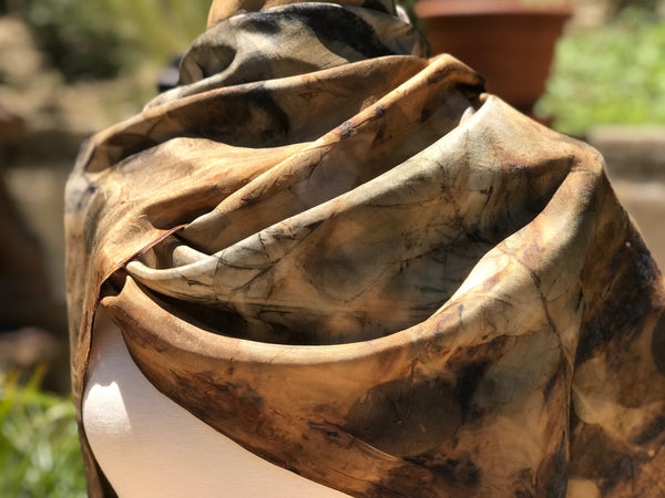 Eco-Dyed Silk Scarf (S-0001) - Brown, Rust, Black, Golds, Grays