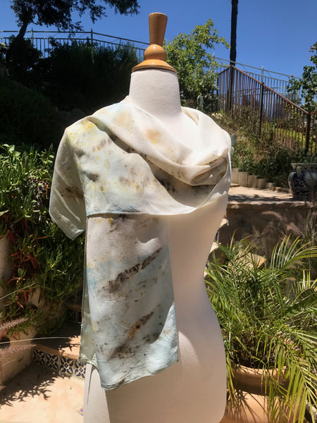 Eco-Dyed Crepe de Chine Scarf (CC-0001) - Dark Brown, Golden Yellow, Rust, Light Blue