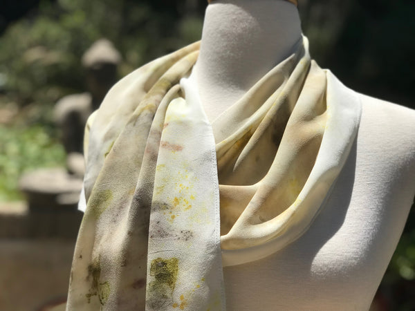 Eco-Dyed Crepe de Chine Scarf (CC-0003) - Dark Gray, Light Brown, Tan, Golden Yellow, Green