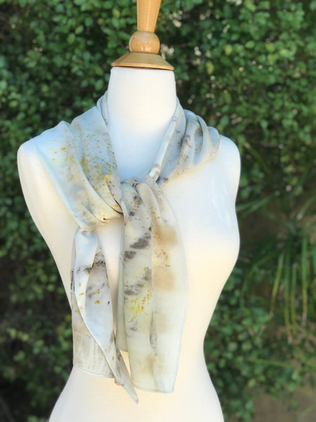 Eco-Dyed Crepe de Chine Scarf (CC-0004) - Dark Gray, Light Brown, Tan, Golden Yellow