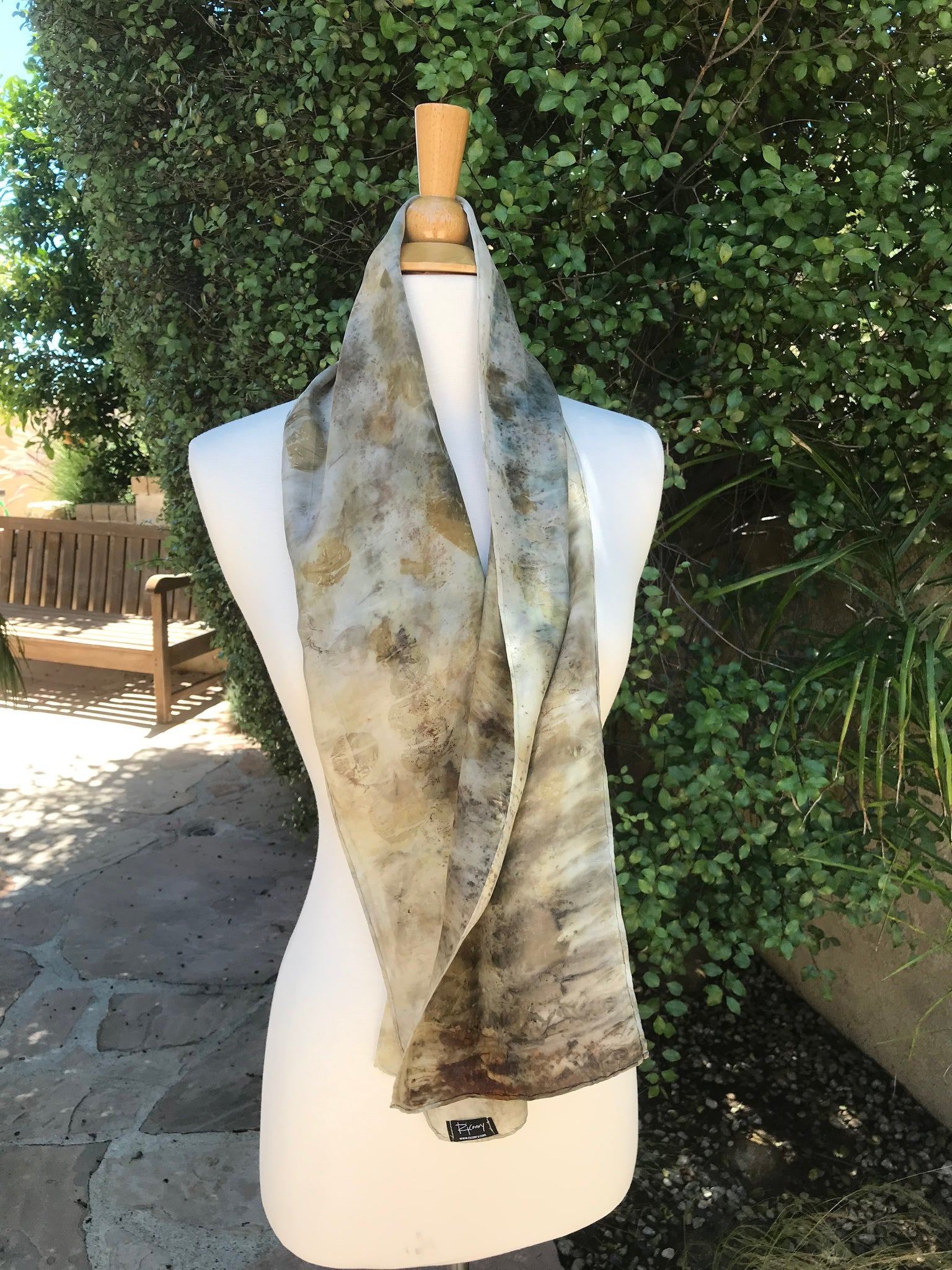 Eco-Dyed Silk Scarf (S-0005) - Brown, Blue, Rust, Black, Tan