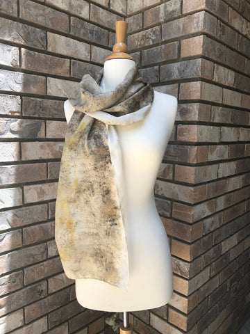 Eco-Dyed Silk Scarf (S-0002) - Brown, Tan, Golden Yellow, Rust, Black