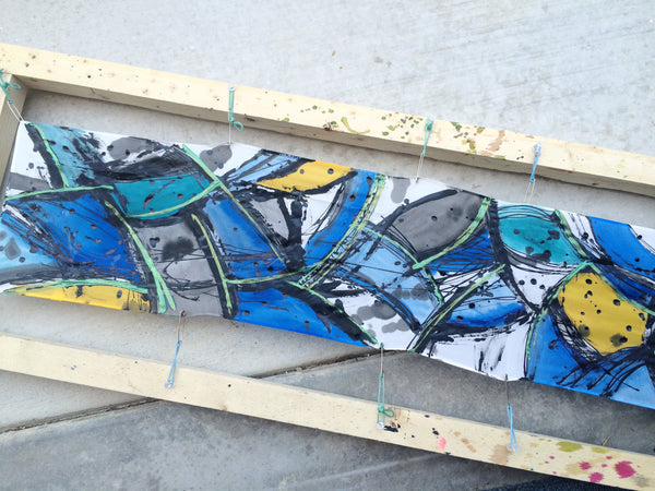 Breaking Boundaries Silk Scarf - Blue, Yellow, Black and Metallic Green