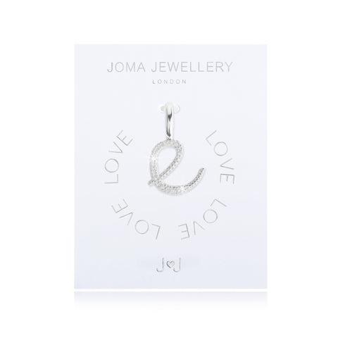 Joma Alphabet  Pave Charm Initial E - Violetmai Jewellery and Gifts