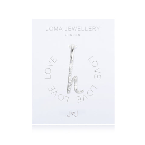 Joma Alphabet  Pave Charm Initial H - Violetmai Jewellery and Gifts