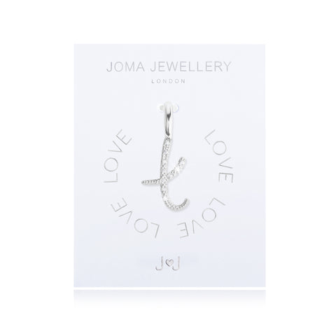 Joma Alphabet  Pave Charm Initial T - Violetmai Jewellery and Gifts