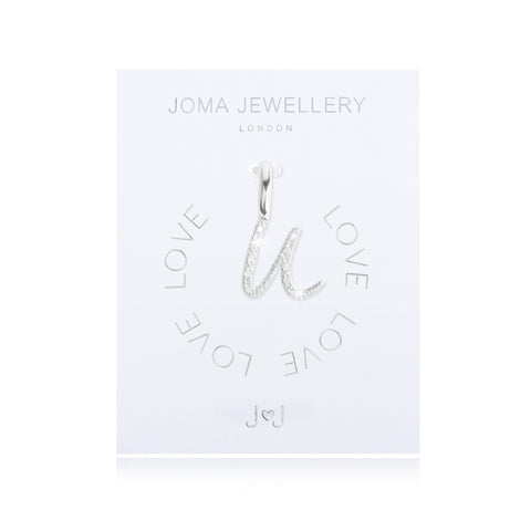 Joma Alphabet  Pave Charm Initial U - Violetmai Jewellery and Gifts