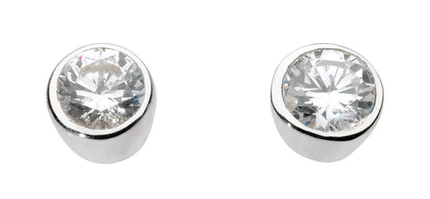 Dew Sterling Silver Crystal Small Round Silver Studs - Violetmai Jewellery and Gifts