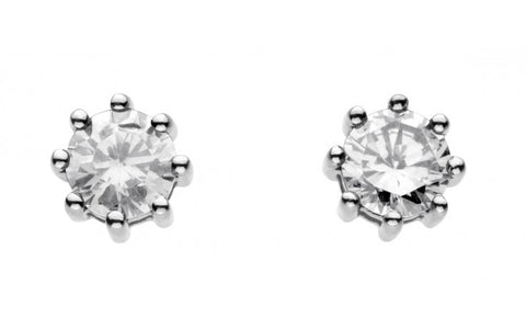 Dew Sterling Silver Cubic Zirconia Claw Studs - Violetmai Jewellery and Gifts