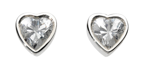 Dew Sterling Silver Crystal Heart Studs - Violetmai Jewellery and Gifts