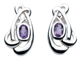 Heritage Art Nouveau Flowing Knot 2 Stone Studs with Amethyst - Violetmai Jewellery and Gifts