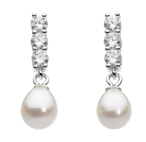 Dew Sterling Silver &  Single freshwater pearl with cubic zirconia  silver earrings - Violetmai Jewellery and Gifts