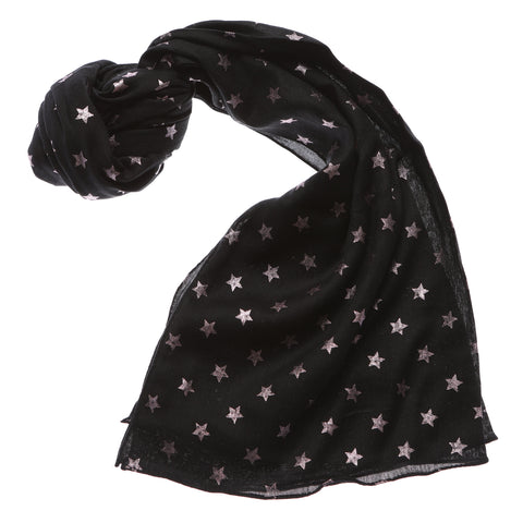 Shruti Metallic Star Scarf in Black