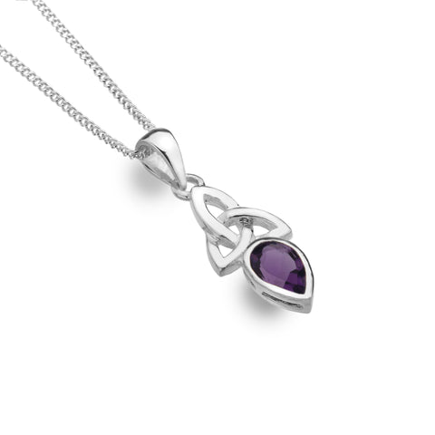 Celtic Lands Sterling Silver Amethyst Pendant and Chain - Violetmai Jewellery and Gifts