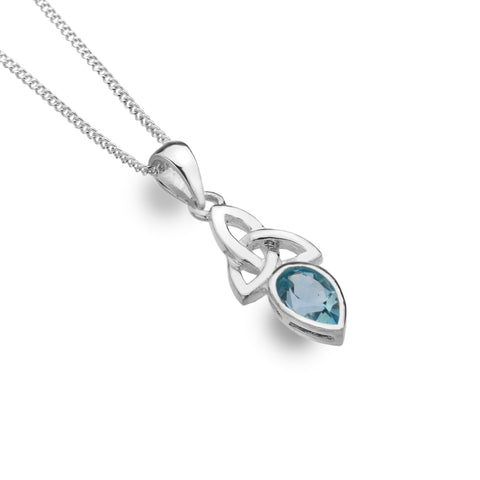 Celtic Lands Sterling Silver Blue Topaz Pendant and Chain, March Birthstone - Violetmai Jewellery and Gifts