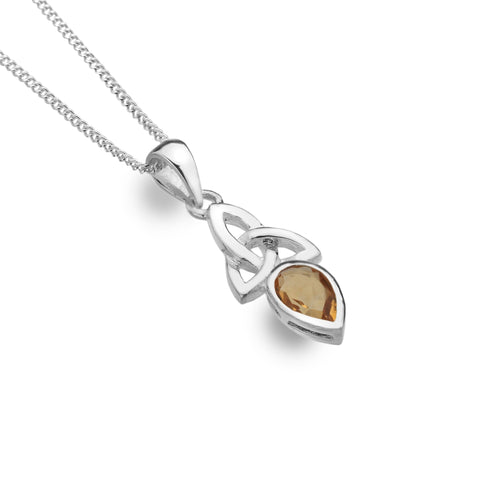 Celtic Lands Sterling Silver Citrine Necklace, November - Violetmai Jewellery and Gifts