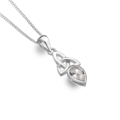 Celtic Lands Sterling Silver Clear Crystal Necklace, April Birthstone - Violetmai Jewellery and Gifts