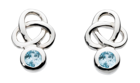 Heritage Stu Kalin Small  Silver and Blue Topaz Trilogy Studs