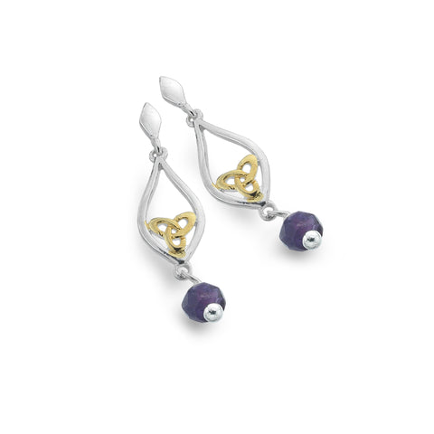 Celtic Lands Sterling Silver Amethyst Earrings, February - Violetmai Jewellery and Gifts