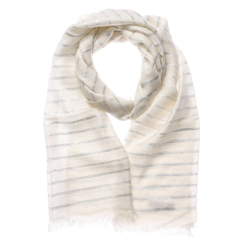 Shruti Metallic White and Silver Strip Scarf  in Ivory