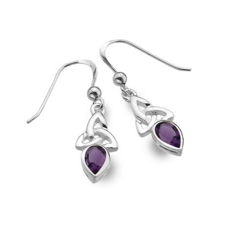 Celtic Lands Sterling Silver Amethyst Earrings - Violetmai Jewellery and Gifts